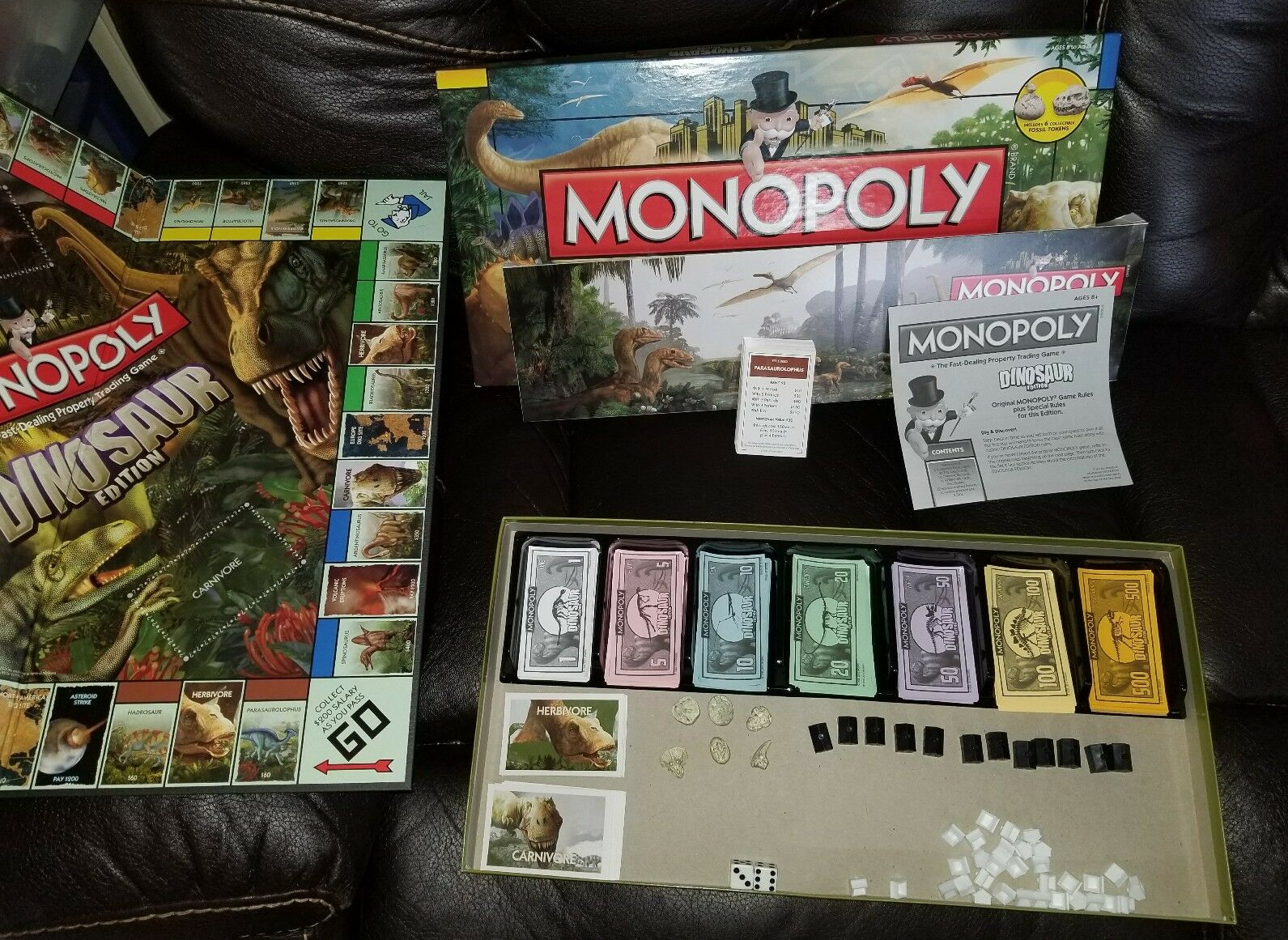Official Monopoly Dinosaur Board Game Rare Free Shipping Great Gift Complete