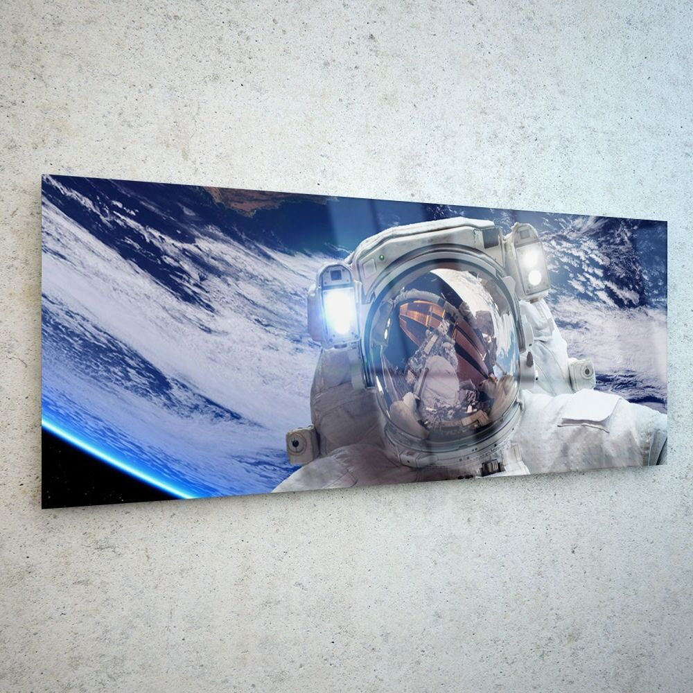 Wall Art Glass Print Canvas Canvas Canvas New Picture Large Erath Cosmonaut 44449945 125x50cm 50d57b