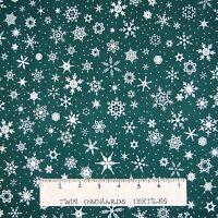 White Christmas Fabric - Snowflake Toss On Jewel Green - Rjr Cotton Yard