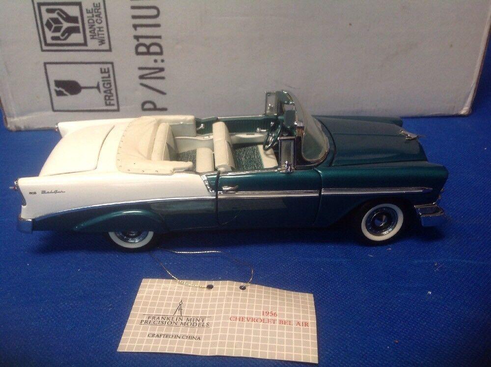 1956 CHEVY BEL AIR  CONVERTIBLE 1 24 FRANKLIN MINT vert AND blanc  choisissez votre préférée