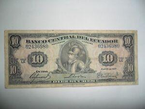 Contemplatif Banconota 10 Sucres Ecuador 1977 Spl