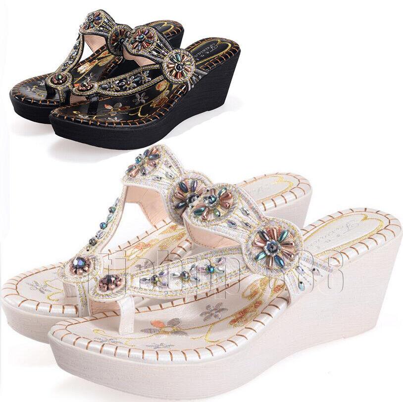 Boho Womens Rhinestones Summer Slippers Flip Flop Platform Heel Sandals Shoes A1
