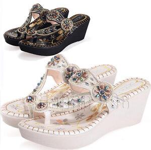 Boho-Sandals-Women-Rhinestone-Wedge-Platform-Heel-Beach-Thong-Shoes-Flip-Flop-SZ