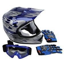 New DOT Youth Blue Flame Dirt Bike ATV BMX Motocross Helmet w/ Goggles+gloves M