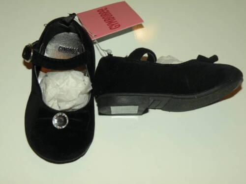 GYMBOREE HOLIDAY CLASSIC BLACK GEM BOW VELVETEEN DRESSY SHOES 04 5 NWT