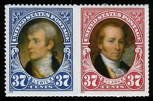 #3856a 37c Lewis & Clark, Se-Tenant Par, Nuevo Cualquier 5=