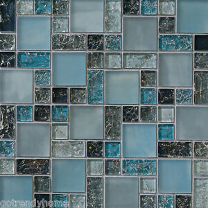 bathroom tiles samples 1 sf blue crackle glass mosaic tile backsplash kitchen 11831
