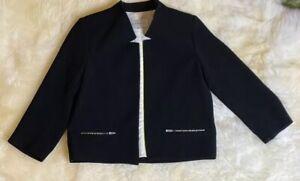 Sandro-black-open-blazer-size-euro-36-US-Size-S-Gold-Black-Zipper-NWOT