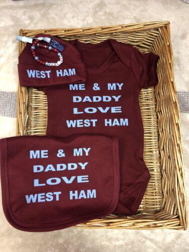 West Ham Football Bodysuit Babygrow Bib Hat Vest FREE Dummy Clip