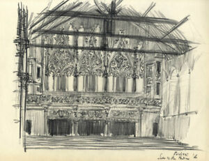 Austin Blomfield - 1956 Charcoal Drawing, Poitiers Cathedral