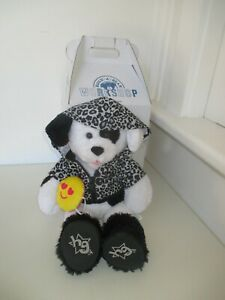 Build-a-Bear-Cookies-amp-Cream-Pup-with-Leopard-Print-Jacket-Fur-Black-Boots-Acc