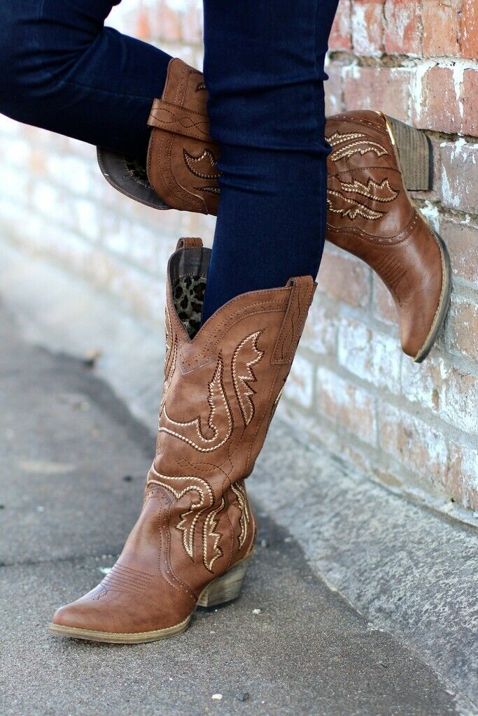 Very Volatile   Raspy Cowgirl Boots Taupe
