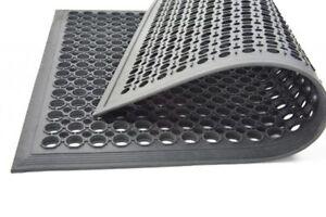 Gummi Wabenmatte mit Boden 22mm Maß 100x150cm schwarz Ringgummimatte geschlossen