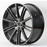 4 Gwg Wheels 22 Inch Staggered Black Machined Flow Rims Fits 5x115 Dodge