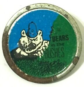 BEARS-IN-THE-BUSHES-Old-Original-Vintage-70-80-s-Metal-Pin-Badge-C-B-slang