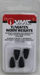 3//16oz BLACK tungsten worm weights 4 per pack