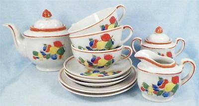 Vintage Childs Tea Set Colorful Fruit Porcelain  Japan 11 Piece Childrens AS IS