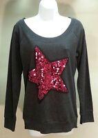 Jennifer Moore Women's Dark Gray Solid Long Sleeve Sweatshirt W/star Size: M