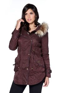 LIPSY LONDON LADIES FUR LINED HOODED PARKA JACKET - UK SIZE 10 ...