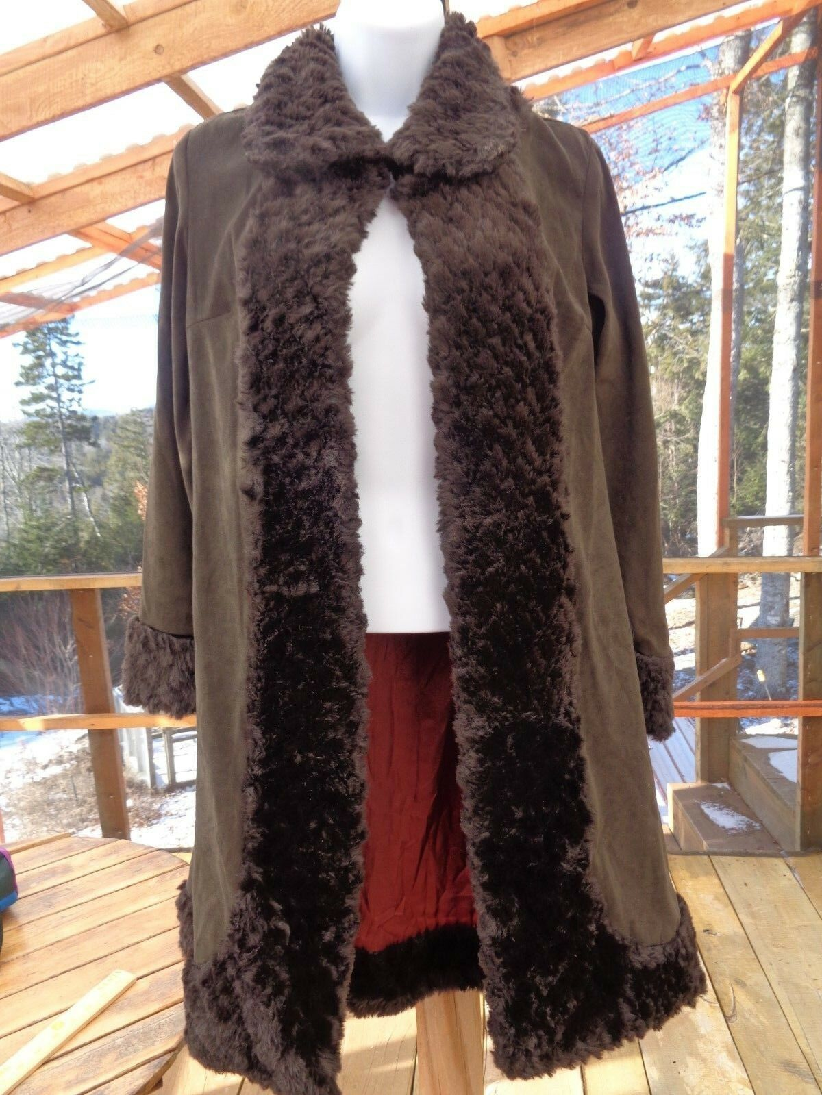 KRIZIA d. SWING  COAT BROWN  WOMEN'S MEDIUM, 1 BUTTON FAUX FUR EDGES,STYLE 81021