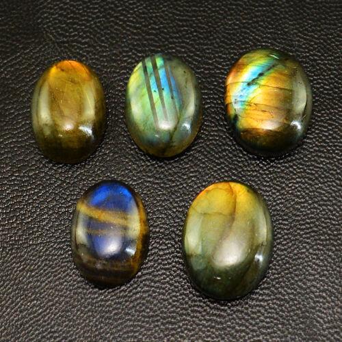 76.60 CTS//5 piezas natural azul y oro flash labradorita piedras preciosas con forma ovalada