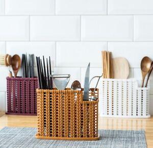 Plastic-Kitchen-Draining-Rack-Cage-Cutlery-Chopsticks-Spoon-Holder-Storage-Box