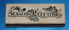 NEW Inkadinkado 'Seasons Greetings' Christmas Wooden Backed Rubber Stamp 99444DD