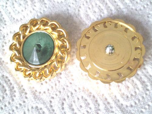 Abrigo joyas botón plástico metalizado Golden con plexistrass turquesa 40mm