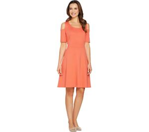 Isaac Mizrahi Cold Shoulder Ponte Knit Fit & Flare Dress CORAL Color Size M