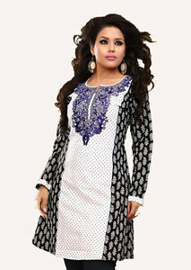 Women Fashion Casual Indian Short Kurti Kurta Top Shirt Dress ECCO23B UK STOCK