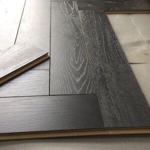 Sample Herringbone 12mm Dark Black, Laminate Flooring Dark Grey