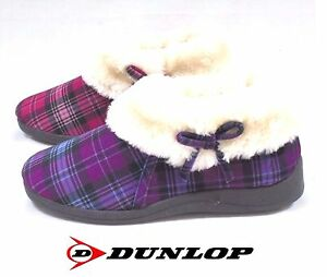 LADIES DUNLOP BOOTEE SLIPPERS NEW BESSIE WARM CHECK WIDE ANKLE BOOTS SIZE 3 - 8