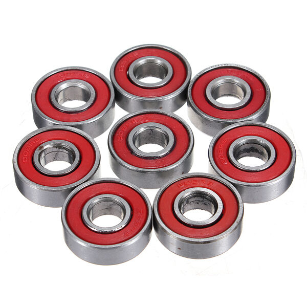 10pcs Roller Skateboard Sealed Ball Bearings ABEC-5 608-2RS 608RS 8x22x7mm Red