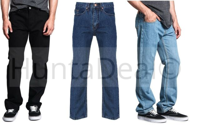 New Mens Relaxed Fit Straight Leg Heavy Denim Jeans 5 Pocket All Sizes Plus Big