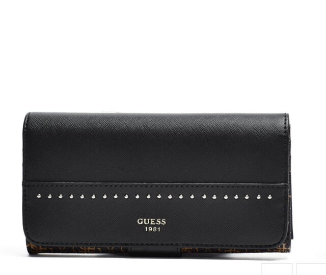 GUESS Hailey File Clutch Bifold Wallet Purse Black Brown Logo print Studded