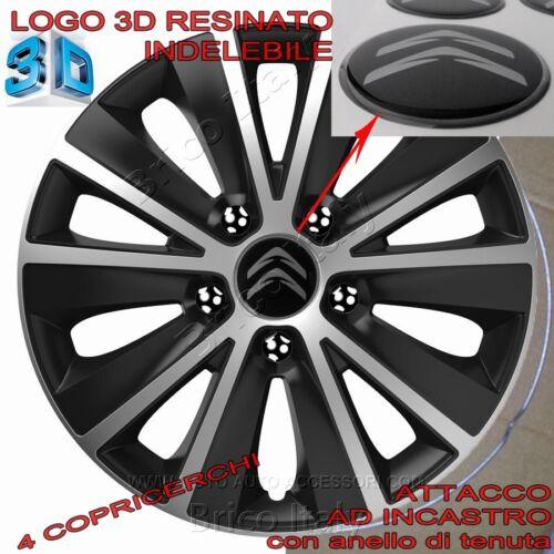 """4 Copricerchi Calotte Raptor 15/"""" Logo Resinato 3D Citroen per C1 C2 C3 C4 C5"""