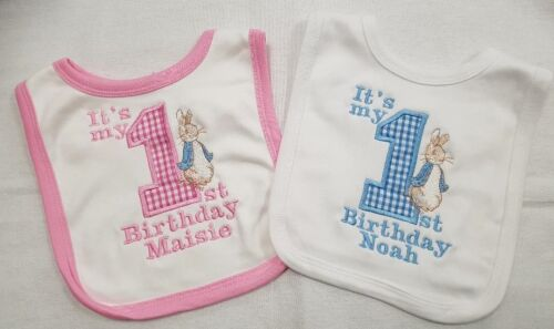 Personalised applique Peter Rabbit 1st birthday bib pink blue white with a name