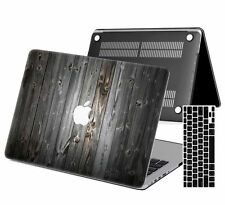 """Wood Painted Rubberized Hard Case Cover For New Macbook Pro Air 11"""" 13"""" 15 Touch"""