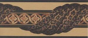 Wallpaper-Border-Leopard-Swag-Tan-Green-on-Beige-with-Black-Edge