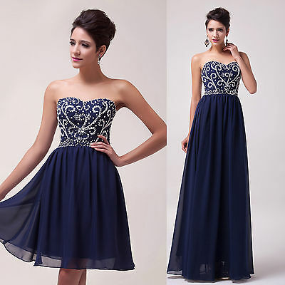 2015 Formal BEADED Evening Ball Gown Party Prom Bridesmaid Dress PLUS SIZE 6-20