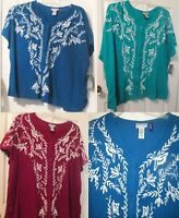 Blue Green Or Maroon Floral Button Blouse 2x 3x 4x Or 5x Regular Or Petite Shirt