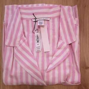 Victoria-039-s-Secret-Classic-Pink-Stripe-Shimmer-Flannel-Sleep-Shirt-Size-M