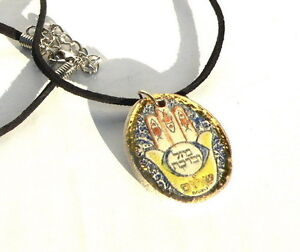 Details about Artisan Hamsa Pendant Necklace, Good Luck Bless Peace  Kabbalah Charm, Protection