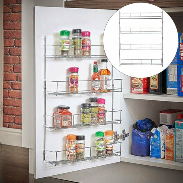 4 Layers Spice Rack Organizer Wall Mount Storage Kitchen Shelf Pantry Jar Holder