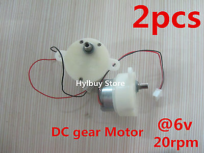 2pcs Small dc geared motor 3V-6V 5V worm brush gear motor Slow speed 18rpm
