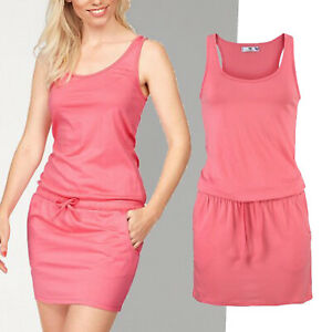 schoenes-Mini-Kleid-Gr-42-44-Strandkleid-Sommerkleid-Jersey-Shirtkleid-Apricot