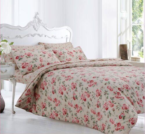 King Size 100 Brushed Cotton Cream Pink Fl Flannelette Duvet Cover Set Ebay