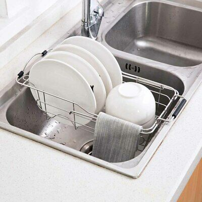 Over the Sink Dish Drying Rack Stainless Steel Expandable Kitchen Dish  Drainer 681413290686   eBay