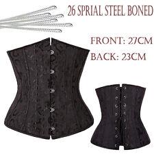 Black Underbust Corset Lace Up Metal Boned Bustier Waist Cincher Body Shaper KD