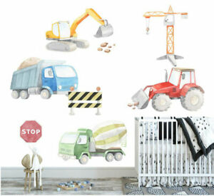 Large Construction Trucks Tractor Wall Decal Nursery Sticker Boys Cot Decor Art